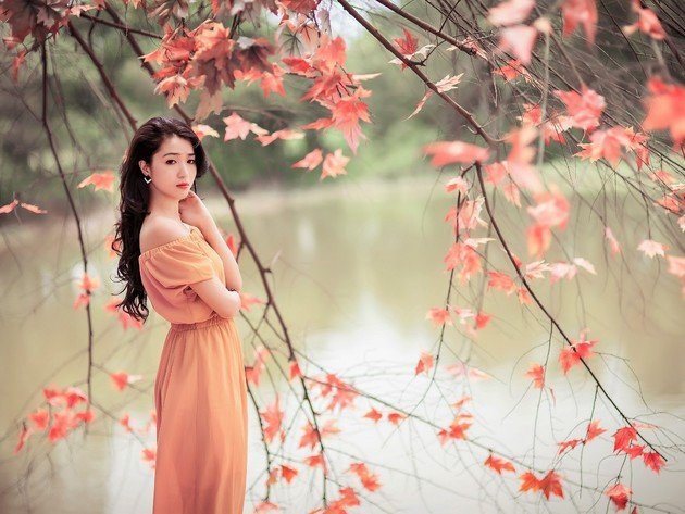 Wallpaper autumn, asian, pond, girl, beauty, japanese