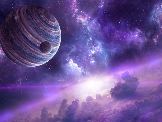 Wallpaper space, galaxy, planet, stars, the universe