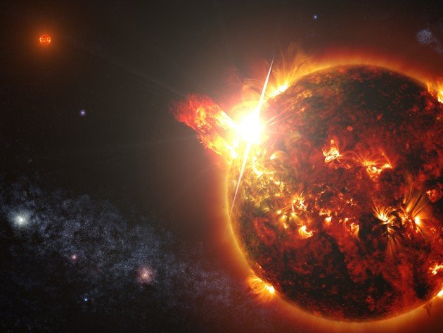 Wallpaper sun, space, planet, fire, red dwarf