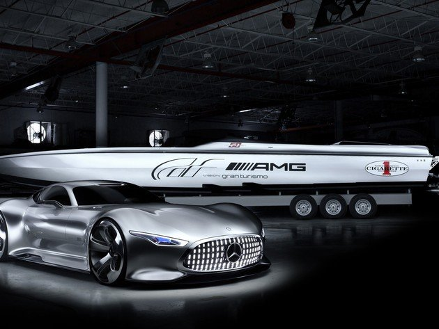 Wallpapers mercedes-benz, yacht, mercedes-benz amg, mercedes-benz amg vision gran turismo