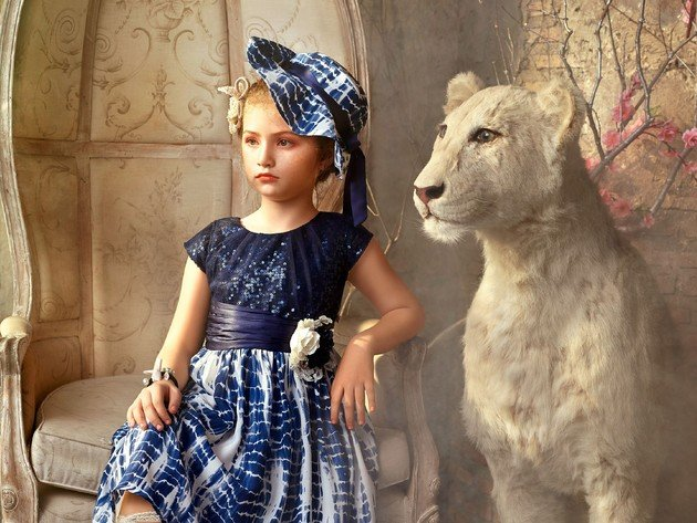 Wallpaper tiger, girl, white tiger, dress, child