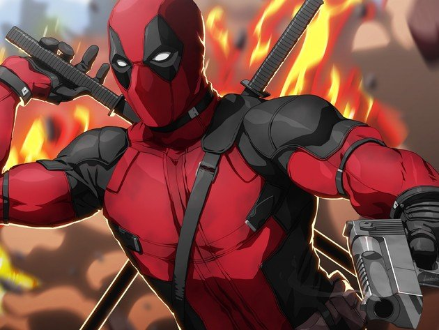Wallpaper weapons, fire, gun, cartoon, deadpool