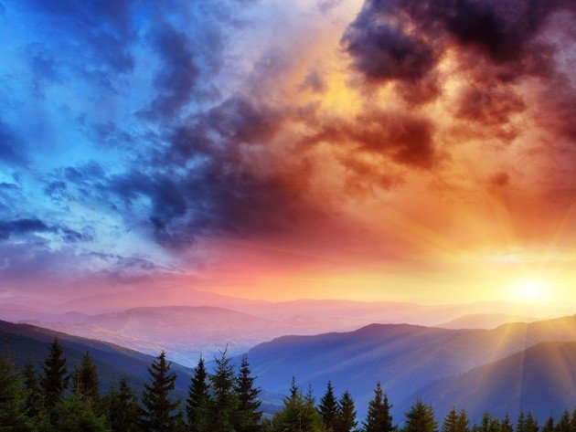 Wallpaper sunset, clouds, mountains, nature, beauty, sun rays
