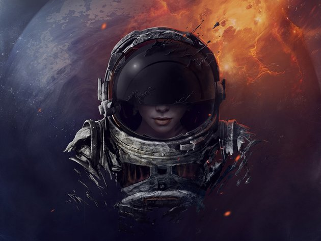 Wallpaper space, planet, girl, astronaut, the suit, astronaut