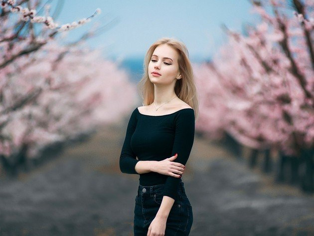 Wallpaper flowers, blonde, model, cherry, beauty, flowering