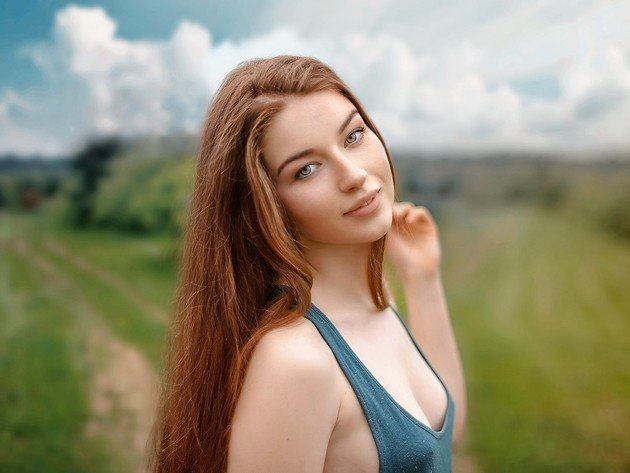 Wallpaper model, field, nature, girl, smile, tank-top, beauty, redhead, lisa