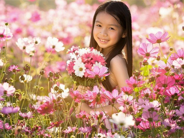 Wallpaper flowers, brunette, field, girl, asian, child, smile