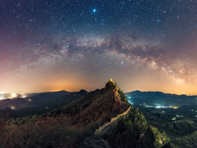 Wallpaper mountains, stars, night, wall, milky way, great wall of china, lights