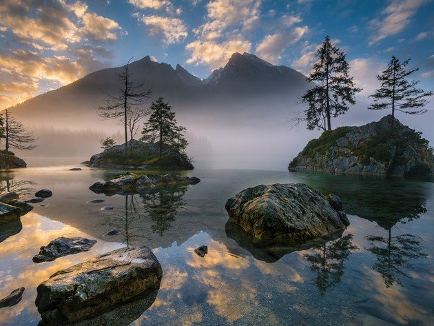 Wallpaper forest, lake, mountains, stones, reflection, fog