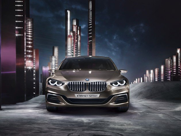 Wallpaper bmw, night, city, the bmw 2-series gran coupe, bmw concept compact sedan