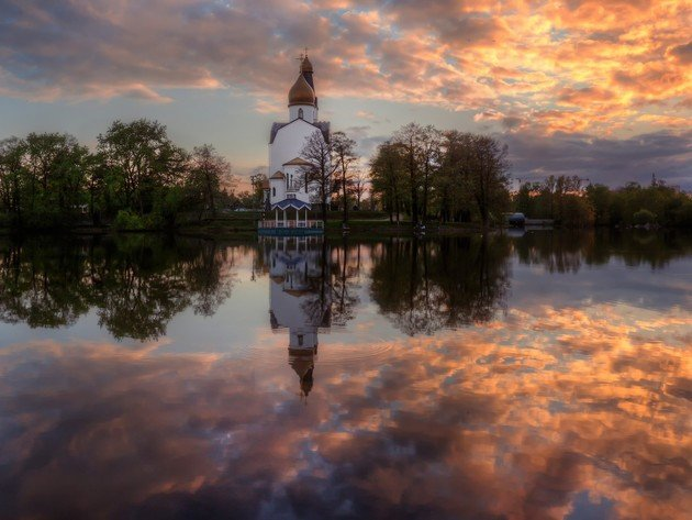 Wallpaper river, reflection, church, clouds, temple, sestroretsk
