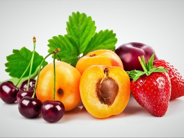 Wallpaper cherry, strawberry, fruit, peach, berries, food