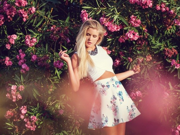Wallpaper flowers, blonde, girl, skirt, bougainvillea, blouse, long hair