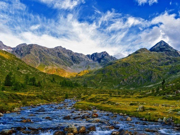 Wallpaper river, mountains, clouds, meadow