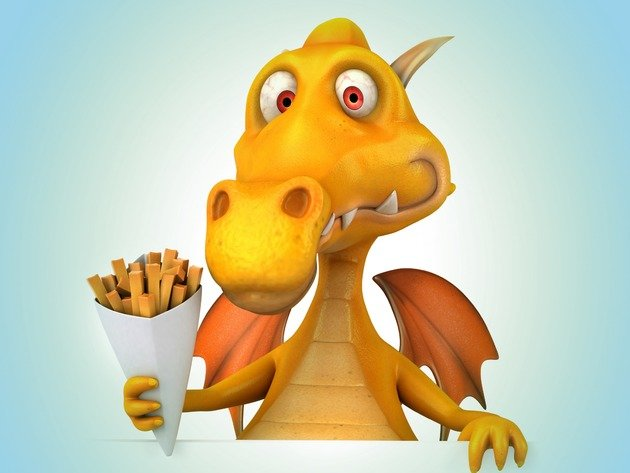 Wallpaper dragon, graphics, fries