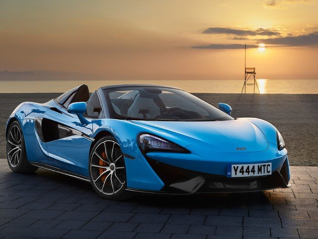 Wallpaper beach, sunset, sea, sand, mclaren, mclaren 570s, 2018 mclaren 570s spider