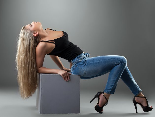 Wallpaper blonde, girl, jeans, shoes, long hair