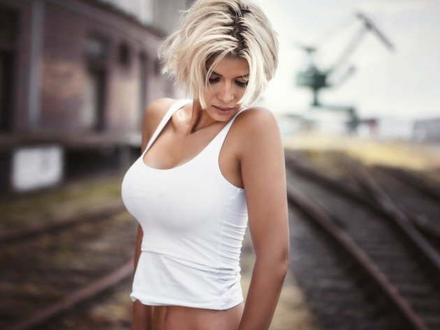 Wallpaper blonde, girl, rails, railroad, tank-top