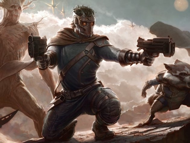 Wallpaper art, guardians of the galaxy, groot, star lord