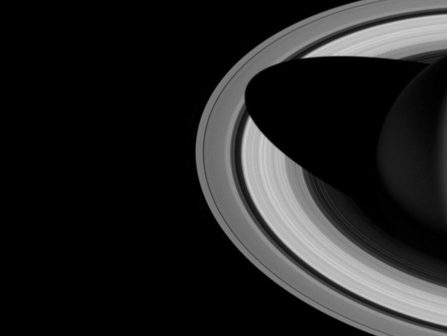 Wallpaper space, planet, saturn, ring, black and white