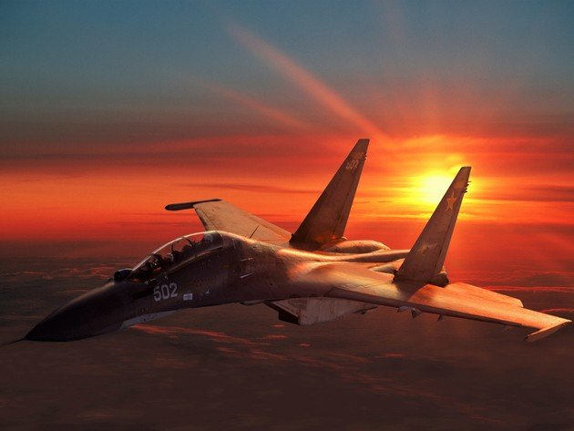 Wallpaper sunset, sukhoi, su-30, su-30mk, su-30mki