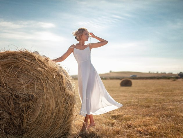 Wallpaper field, girl, dress, hay, white dress