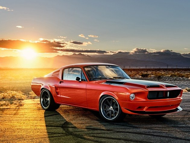 Wallpaper sunset, ford, ford mustang, red car, 1965 ford mustang