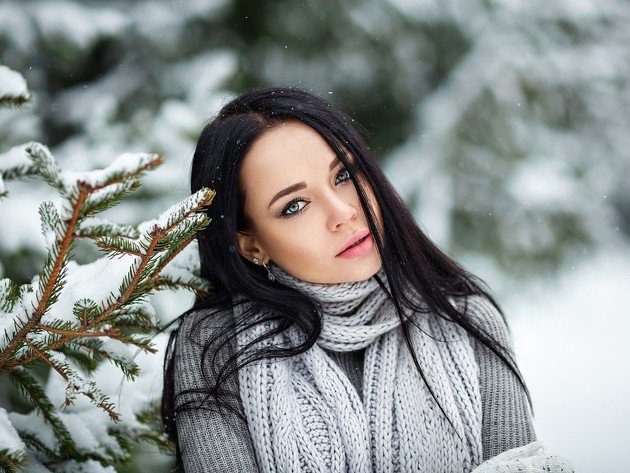 Wallpaper snow, winter, model, brunette, girl, sweater, scarf, angelina petrova