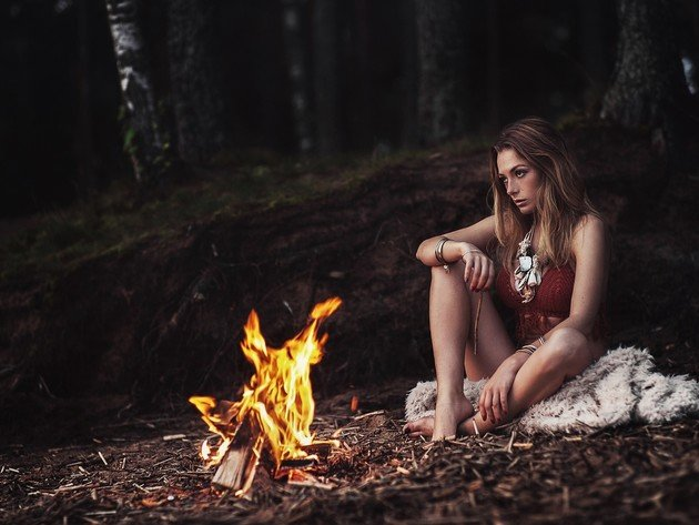 Wallpaper forest, model, fire, girl, legs, the fire, olga kobzar