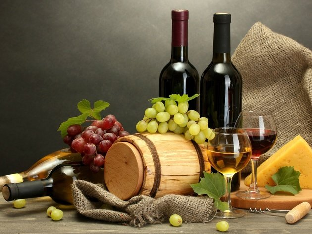 Wallpaper bottle, grapes, cheese, wine, food