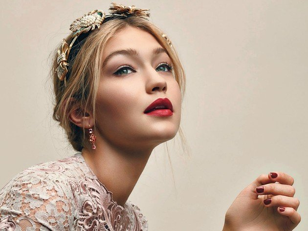 Wallpaper model, face, girl, portrait, red lipstick, gigi hadid
