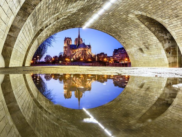Wallpaper river, reflection, evening, france, paris, cathedral, the tunnel, notre dame cathedral