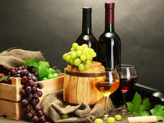Wallpaper bottle, glass, grapes, wine, food