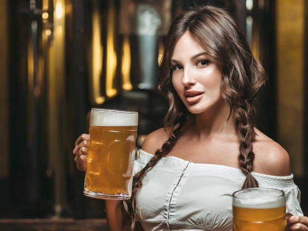 Wallpaper brunette, girl, beer, beauty, braids