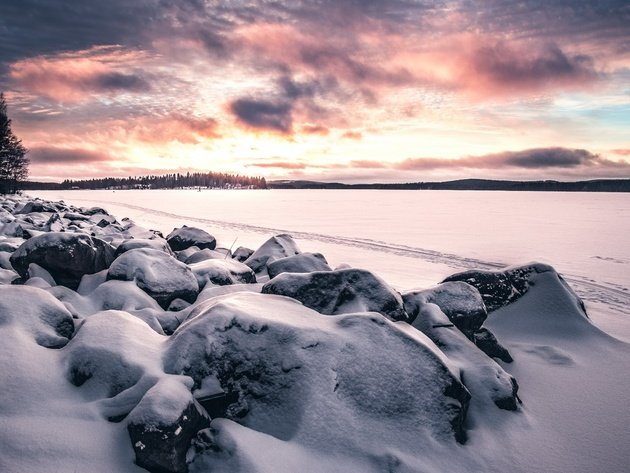 Wallpaper sunset, snow, winter, lake, stones, field, clouds
