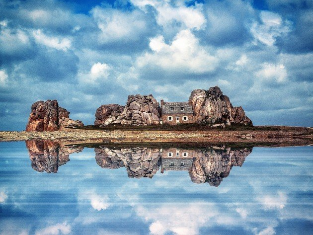 Wallpaper sea, ocean, reflection, island, clouds, france, brittany, rocks, sky, stone house, castel meur, la maison du gouffre