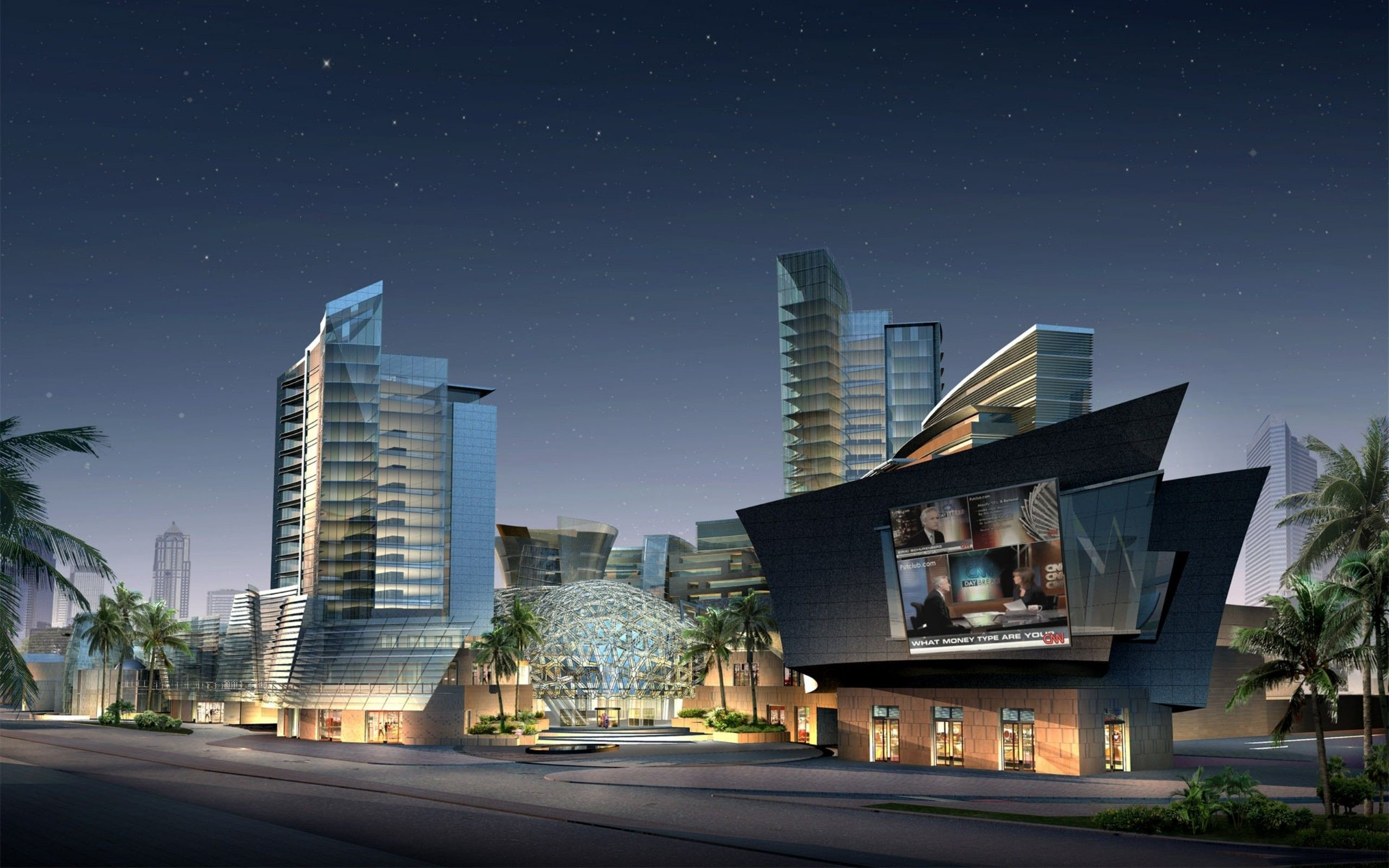 Download Wallpaper Skyscrapers House Night 2560x1600 3d Model Of Shopping Mall At