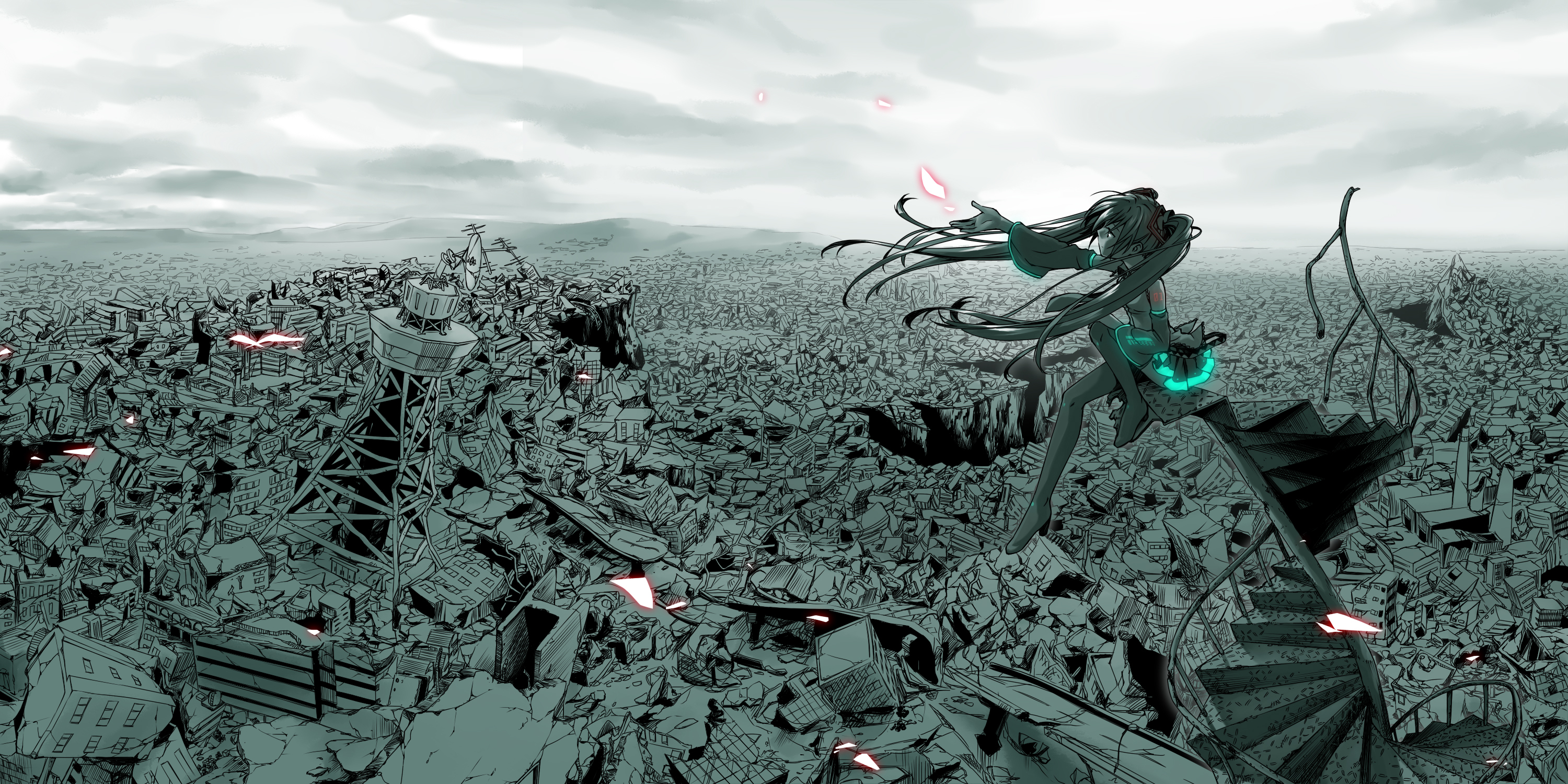 Wallpaper download City after the disaster (Hatsune Miku)