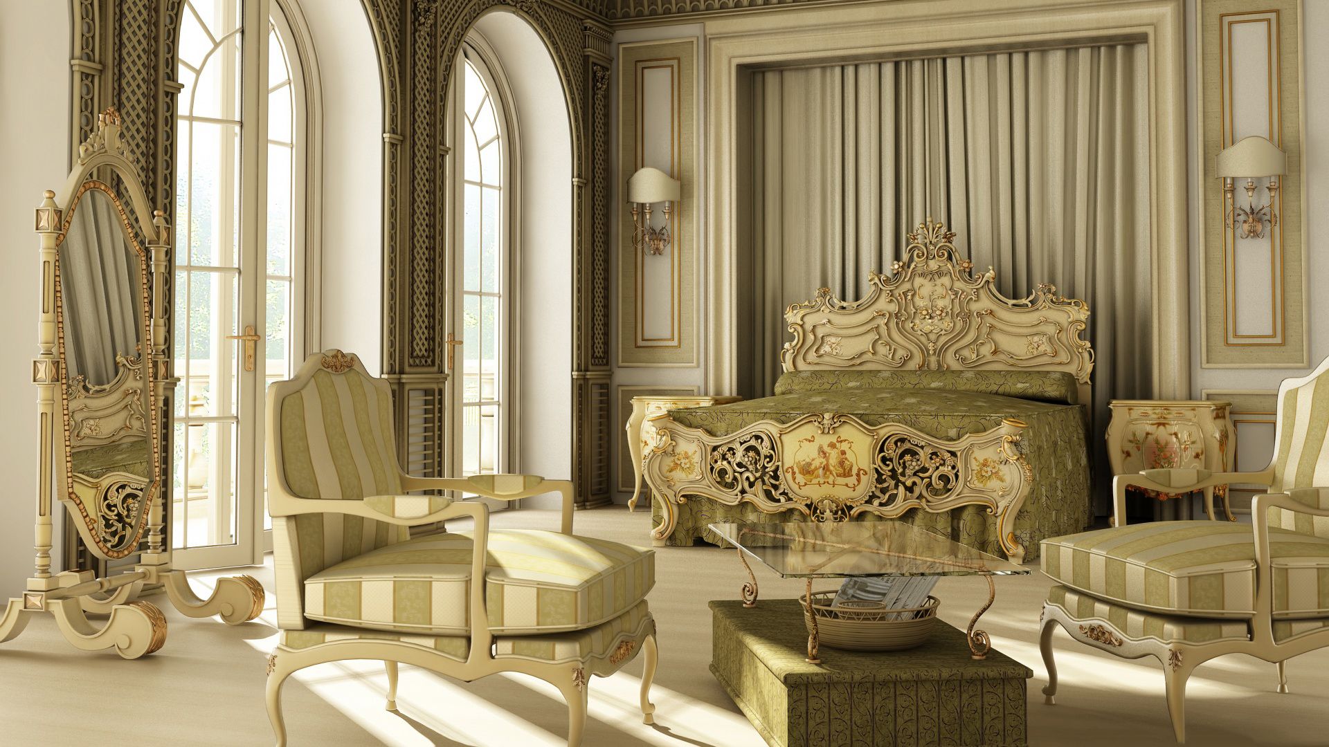 download wallpaper mirror interior bedroom luxury rococo