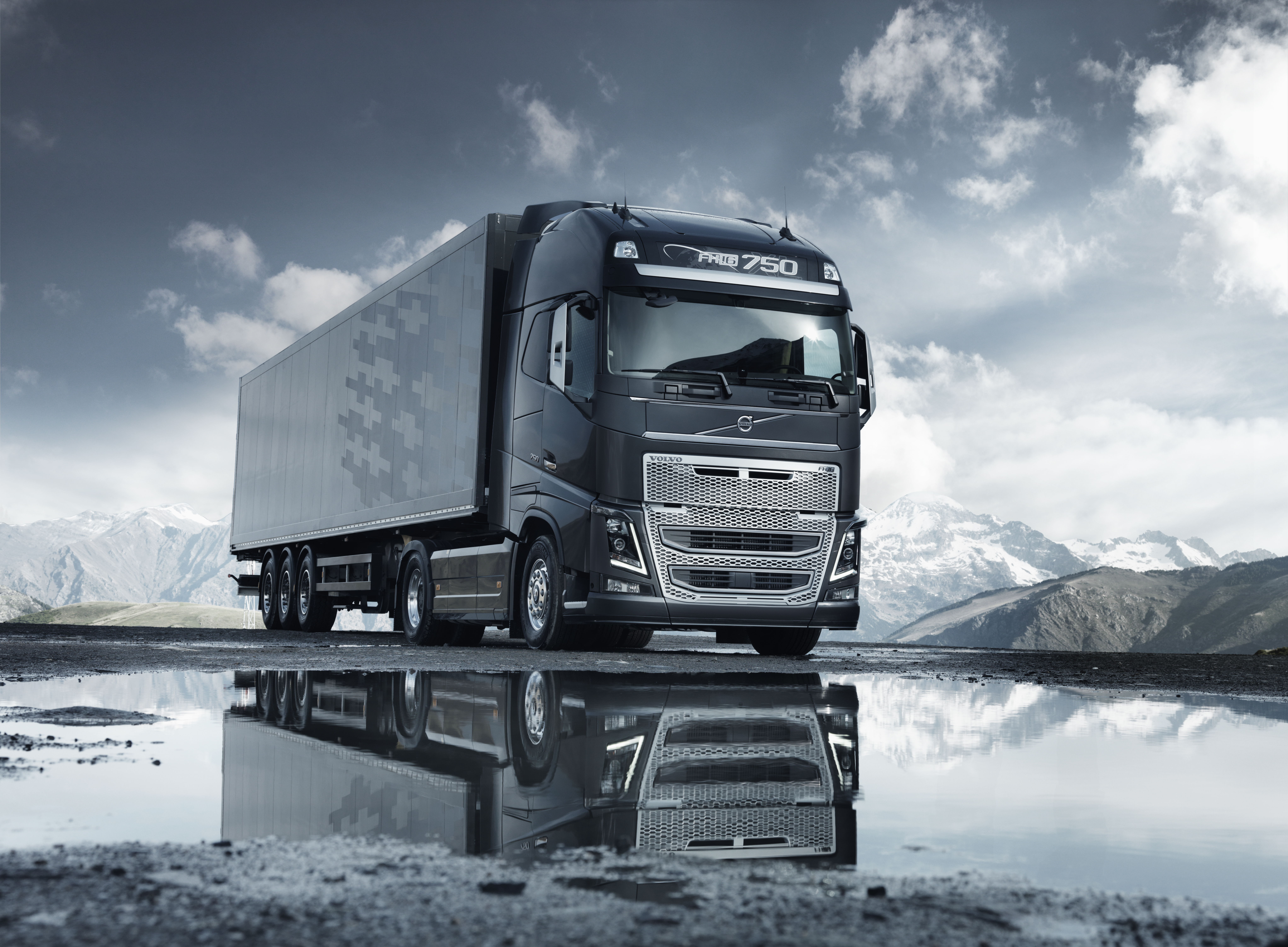Download Wallpaper Mountain Reflection Road Volvo Puddle Sky Fh 16 8176x6010 Truck FH