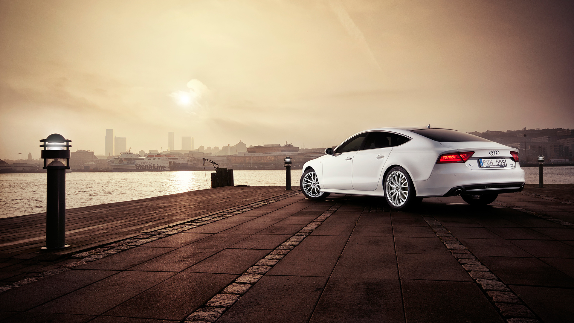 Download Wallpaper River Water Road Audi Promenade City A7 Sky Embankment 1920x1080 On The Waterfront
