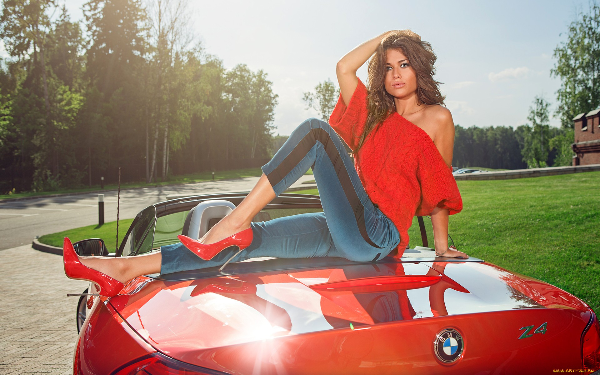 Download Wallpaper Girl Bmw Z4 Jeans Shoes Anna Kasterova