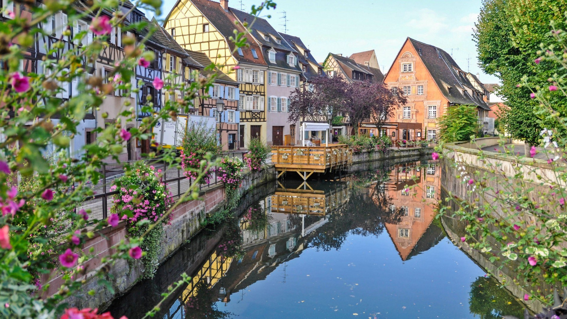 download wallpaper river water france house spring colmar 1920x1080 spring in the city colmar. Black Bedroom Furniture Sets. Home Design Ideas